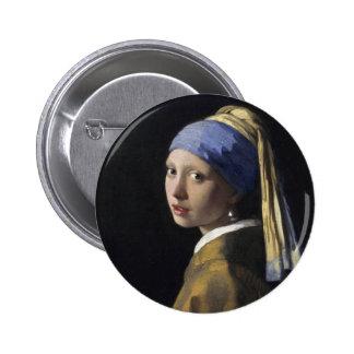Pintura de Vermeer - chica con un pendiente de la Pin Redondo De 2 Pulgadas