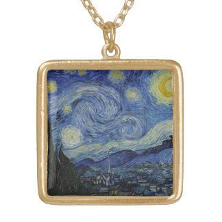 Pintura de Vincent van Gogh de la noche estrellada Colgante Cuadrado