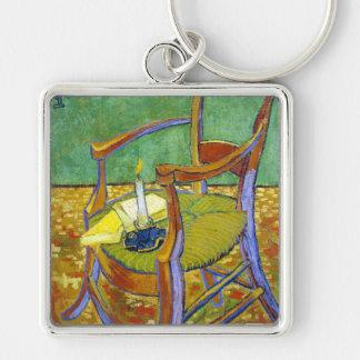 Pintura de Vincent van Gogh de la silla de Gauguin Llavero Cuadrado Plateado