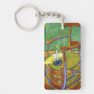 Pintura de Vincent van Gogh de la silla de Gauguin Llavero Rectangular Acrílico A Doble Cara
