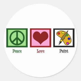 Pintura del amor de la paz pegatina redonda