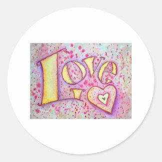 Pintura del amor pegatina redonda
