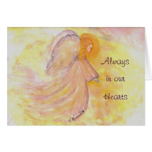 Pintura del ángel de la acuarela de la condolencia tarjetón