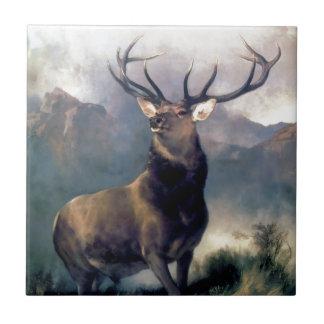 Pintura del animal salvaje de los alces azulejo cuadrado pequeño