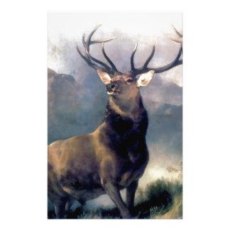 Pintura del animal salvaje de los alces papelería personalizada