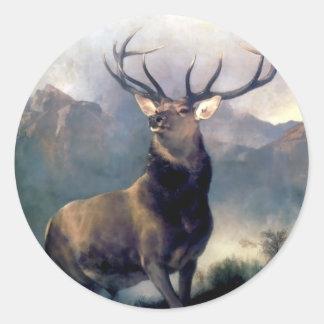 Pintura del animal salvaje de los alces pegatina redonda