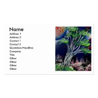 Pintura del árbol con el sol azul de la ciudad y d tarjeta de visita