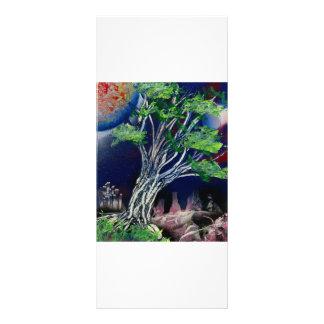 Pintura del árbol con el sol azul de la ciudad y d plantilla de lona