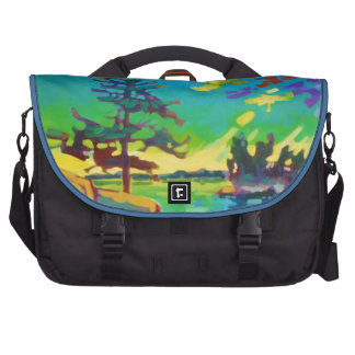 Pintura del árbol de la puesta del sol bolsas de portátil