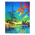 Pintura del árbol de la puesta del sol membrete personalizado