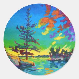 Pintura del árbol de la puesta del sol pegatinas redondas