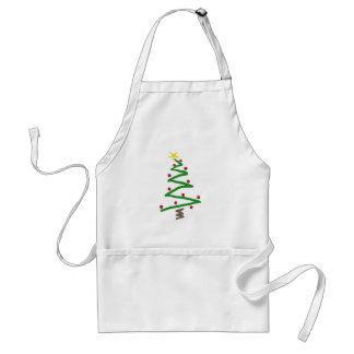 Pintura del árbol de navidad del zigzag delantal
