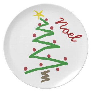 Pintura del árbol de navidad del zigzag plato para fiesta