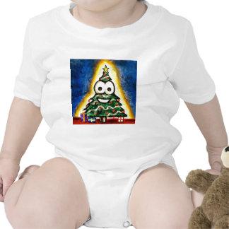 Pintura del árbol de navidad traje de bebé
