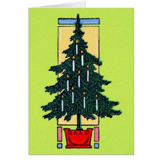 Pintura del árbol de navidad tarjeta de felicitación