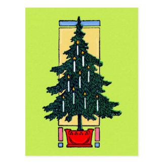 Pintura del árbol de navidad tarjetas postales
