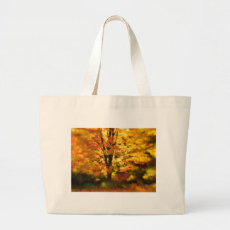 Pintura del árbol del otoño que brilla bolsa tela grande