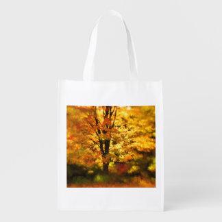 Pintura del árbol del otoño que brilla bolsas para la compra