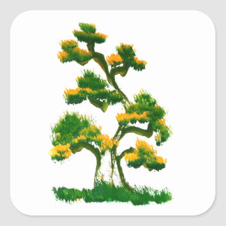 Pintura del árbol por el elefante pegatina cuadradas