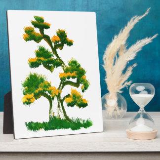 Pintura del árbol por el elefante placa expositora