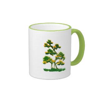 Pintura del árbol por el elefante tazas de café
