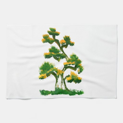 Pintura del árbol por el elefante toallas de cocina