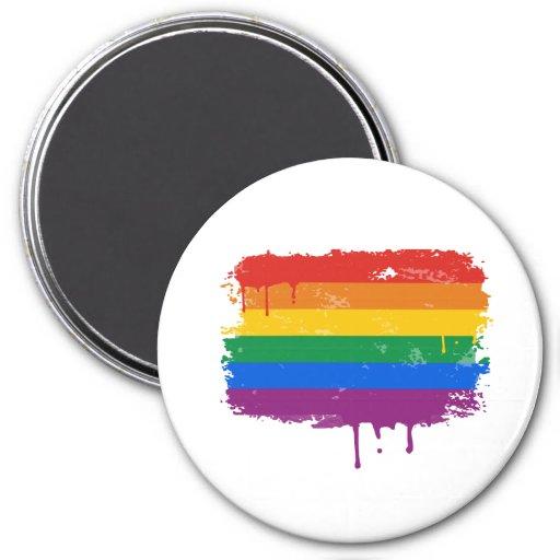 Pintura del arco iris iman de frigorífico
