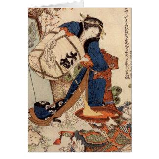 Pintura del arte de Hokusai Tarjeta De Felicitación