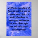 Pintura del arte de la acuarela de los azules añil poster