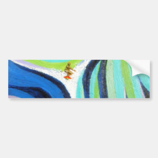 Pintura del arte de la persona que practica surf d pegatina de parachoque