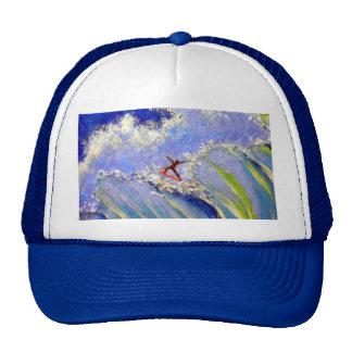 Pintura del arte de la persona que practica surf d gorra