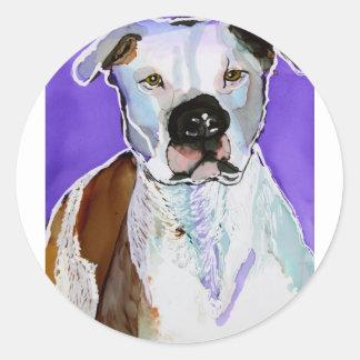Pintura del arte de la tinta del alcohol del perro pegatina redonda