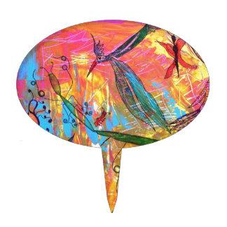Pintura del arte de los pájaros y de los insectos figura para tarta