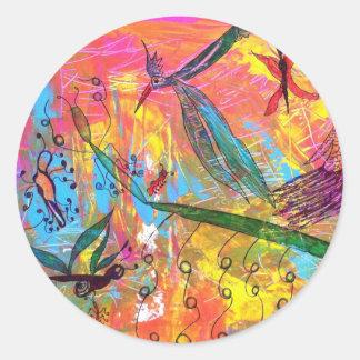 Pintura del arte de los pájaros y de los insectos pegatina redonda