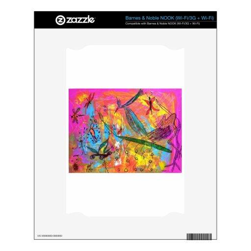 Pintura del arte de los pájaros y de los insectos  calcomanías para NOOK