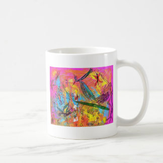 Pintura del arte de los pájaros y de los insectos taza de café