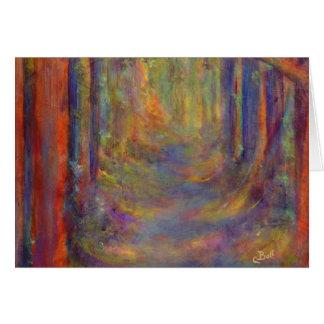 Pintura del arte de maderas del otoño del túnel tarjeta pequeña