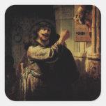 Pintura del arte de Rembrandt Colcomanias Cuadradas Personalizadas