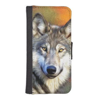 Pintura del arte del lobo billeteras para teléfono