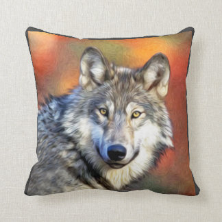Pintura del arte del lobo cojín decorativo