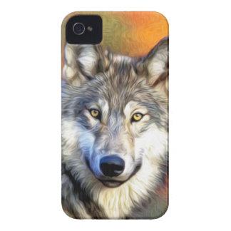 Pintura del arte del lobo gris Case-Mate iPhone 4 protector