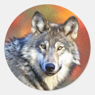 Pintura del arte del lobo gris pegatina redonda