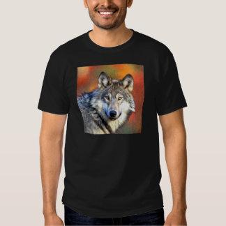 Pintura del arte del lobo gris playeras