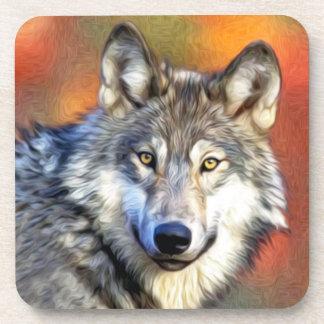 Pintura del arte del lobo gris posavaso