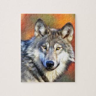 Pintura del arte del lobo gris puzzle