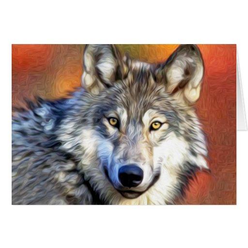 Pintura del arte del lobo gris tarjeta de felicitación