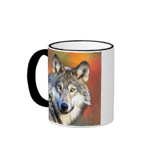 Pintura del arte del lobo gris taza de dos colores