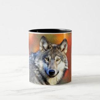 Pintura del arte del lobo gris taza de dos tonos