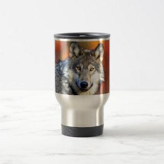 Pintura del arte del lobo gris taza de viaje