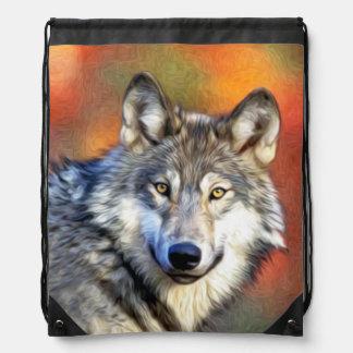 Pintura del arte del lobo mochila